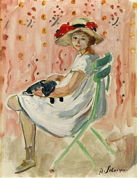 Henri Lebasque -  Girl and Cat