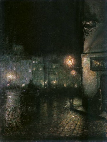 Jakub Schikaneder - The Old Town in Warsaw at night
