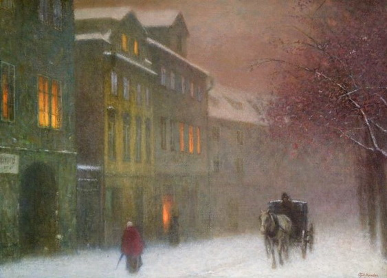 Jakub Schikaneder - A Street in Winter