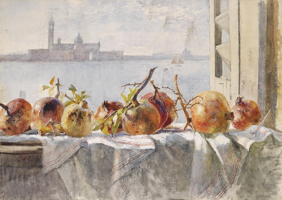 Marie Egner - Pomegranates on a Window Sill