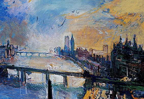 Oskar Kokoschka - London, kleine Themse-Landschaft