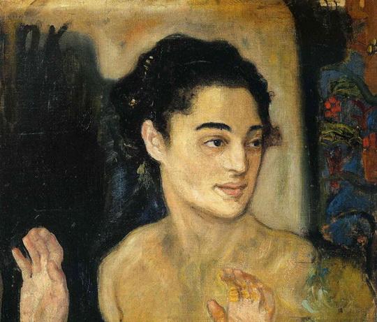 Oskar Kokoschka - Girl with hands raised