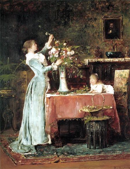 Mihaly Munkacsy - Woman Arranging Flowers