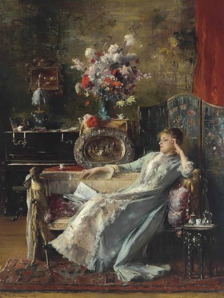 Mihaly Munkacsy - Young Woman Sitting on a Sofa