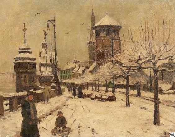 Georg Hambuchen - Winter am Dusseldorfer Rheinufer