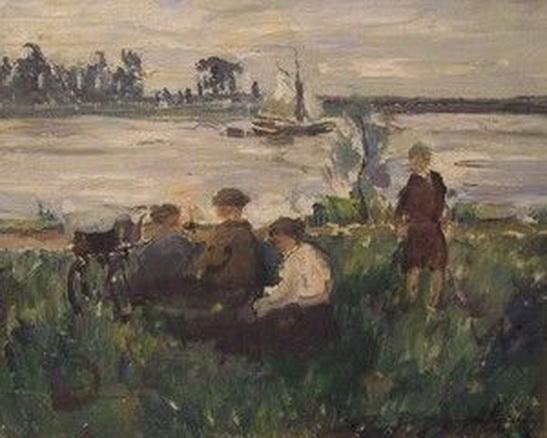 Georg Hambuchen - Picknick am See mit Segelboot