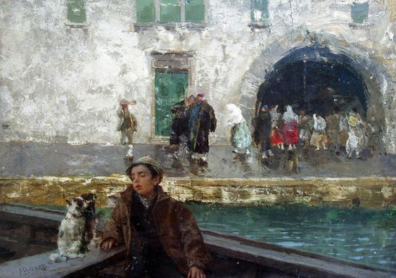 Mose Bianchi - A Boy in a Boat on a Canal
