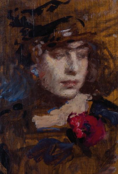 Arturo Rietti - Ritratto di giovane ragazza con papavero