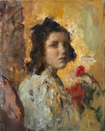 Arturo Rietti - Ritratto di ragazza con fiori