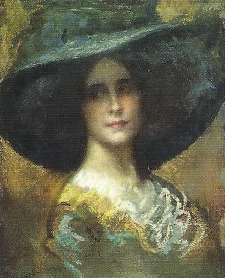Arturo Rietti -  Ritratto di signora con cappello