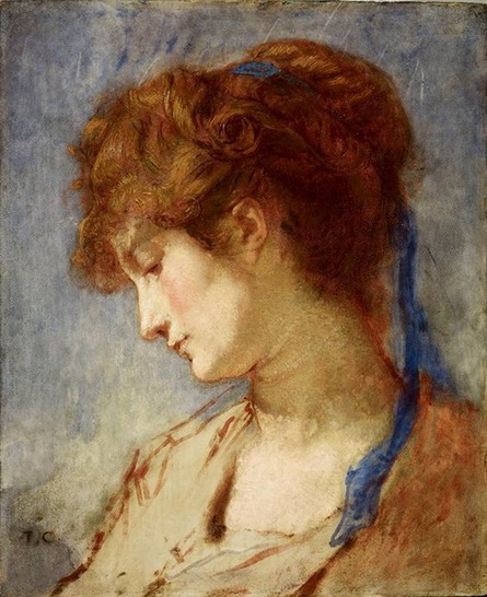 Thomas Couture - femme au ruban bleu