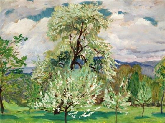 Antonin Hudecek - Obstgarten im Fruhling