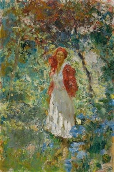 Leonardo Bazzaro - Junge Frau mit rotem Kopftuch