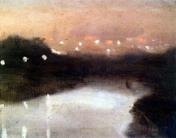 Clarice Beckett - Night Lights on the Yarra