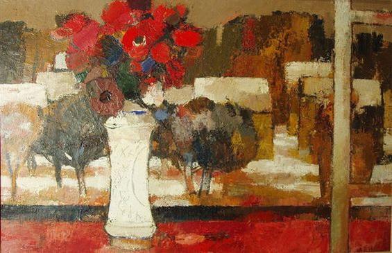 Bernard Cathelin - Le bouquet d'anemones au paysage d'hiver