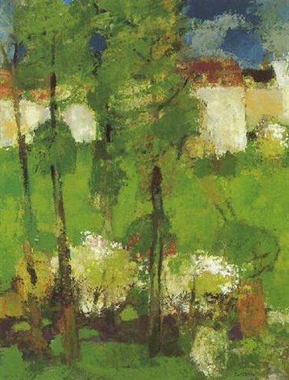 Bernard Cathelin - Jardin aux maisons blanches