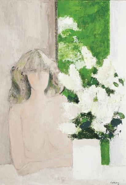 Bernard Cathelin - Claudine au bouquet de lilas