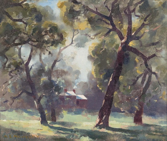 Albert Ernest Newbury - Sunlit Country Cottage