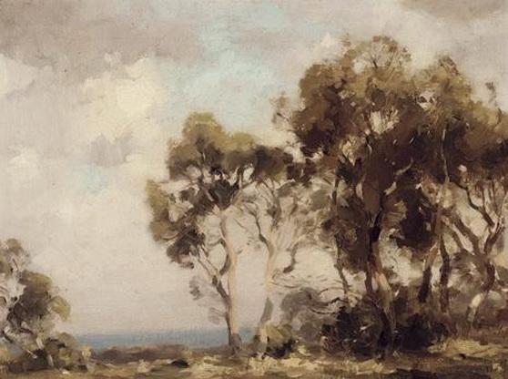 Albert Ernest Newbury - Trees by the Sea