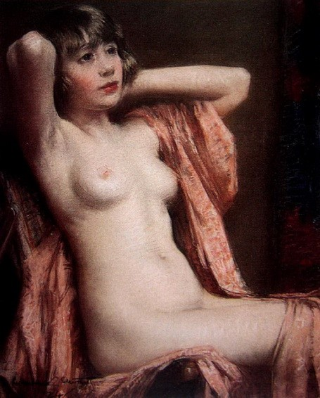 Janet Cumbrae-Stewart - Seated Nude with Pink Shawl