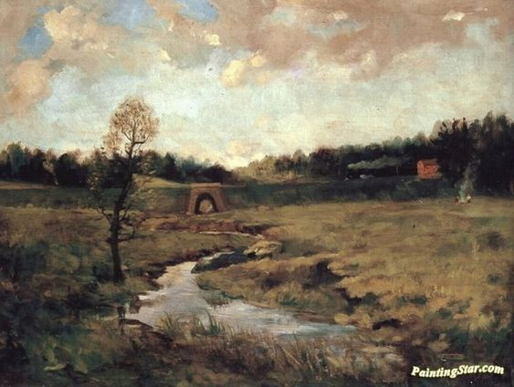 Antonin Chittussi - A Landscape with a train
