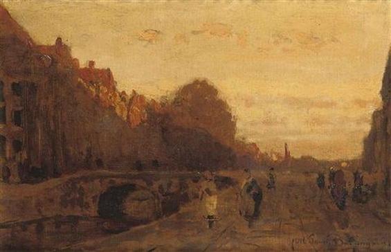 Julius Jacobus Van De Sande Bakhuyzen - (The Spui at sunset, The Hague