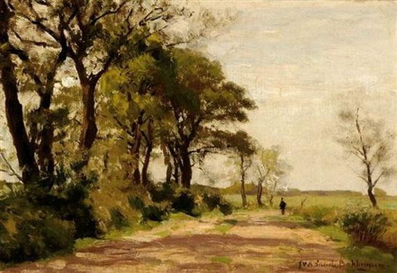 Julius Jacobus Van De Sande Bakhuyzen - Strolling figures on a country road