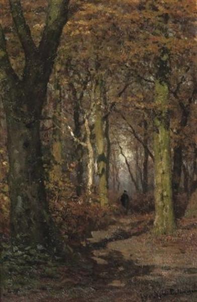 Julius Jacobus Van De Sande Bakhuyzen - Wandering through a forest in autumn