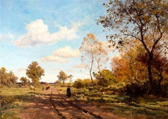 Julius Jacobus Van De Sande Bakhuyzen - Koeherderin op een landweg