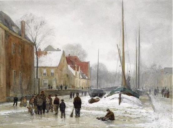 Julius Jacobus Van De Sande Bakhuyzen - Figures on a frozen canal in a wintry town