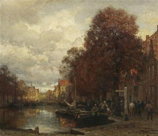 Julius Jacobus Van De Sande Bakhuyzen - Gracht in Delft