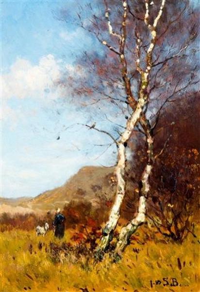 Julius Jacobus Van De Sande Bakhuyzen - Heidelandschap met berkenboom
