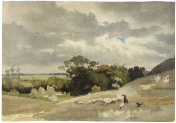 Julius Jacobus Van De Sande Bakhuyzen - A shepherdess with sheep...