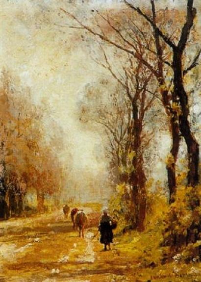 Julius Jacobus Van De Sande Bakhuyzen - A little herd with cattle on a path