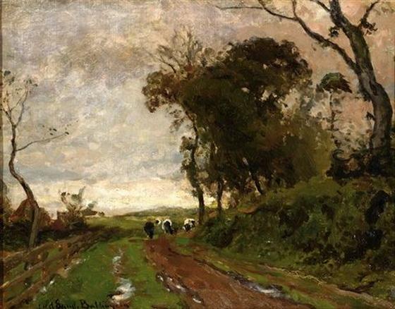 Julius Jacobus Van De Sande Bakhuyzen - Cows on a sand road