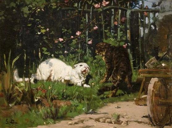 Simon Durand - Zwei streitende Katzen