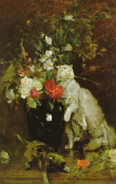 Simon Durand - Blumen in Vase mit weiber Katze