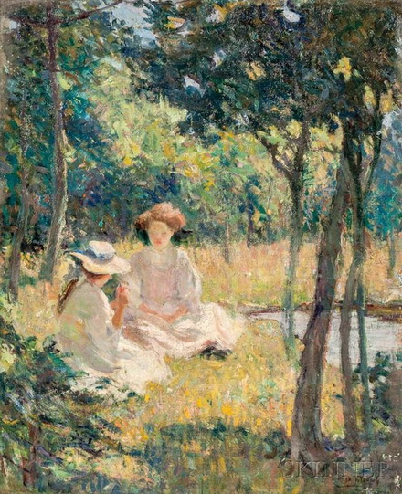 Mary Bradish Titcomb - Ladies in a Sun-drenched Landscape