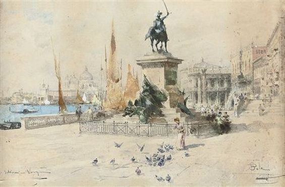 Paolo Sala - Feeding the birds on the Riva Degli Schiavoni, Venice
