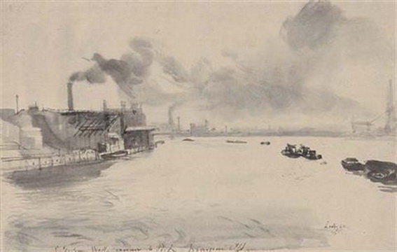 Pietro Annigoni -  The Thames at Millwall