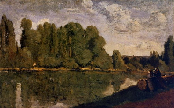 Camille Corot - The Rhone Three Women on the Riverbank