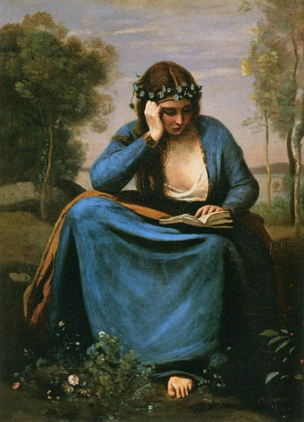Camille Corot - The Reader Crowned with Flowers