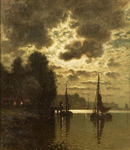John Joseph Enneking - harbor scene at dusk