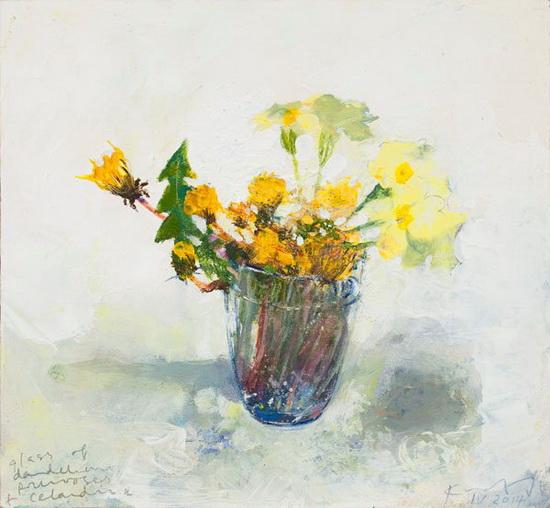Kurt Jackson -   A glass of dandelions, primroses and celandine