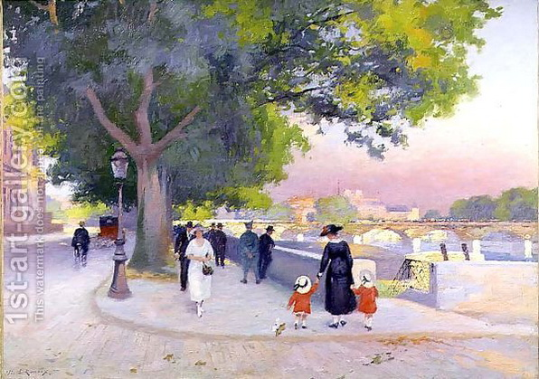 Jules Ernest Renoux - Promenade-On-The-Banks