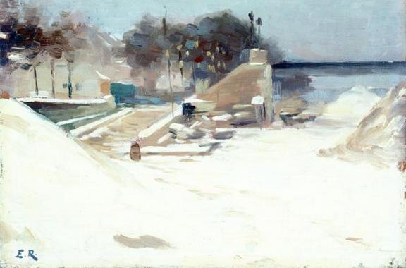 Jules Ernest Renoux - Passerelle de Passy, effet de neige