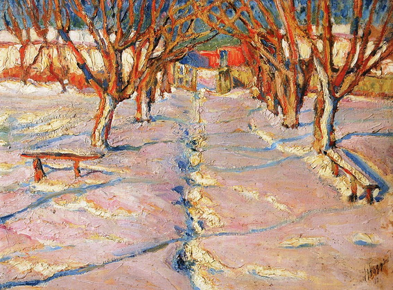 Бурачек - Зима. Аллея в саду