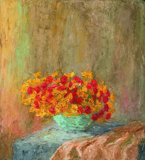 Бурачек - Натюрморт с красными и желтыми цветами