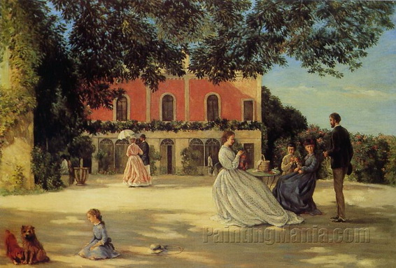 Frederic Bazille - Family Reunion on the Terrace at Meric