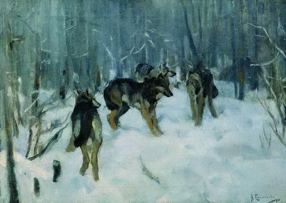 Степанов Ал. -  Волки в зимнем лесу